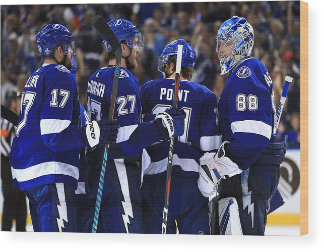 Brayden Point Wood Print featuring the photograph Washington Capitals v Tampa Bay Lightning - Game Five by Mike Ehrmann