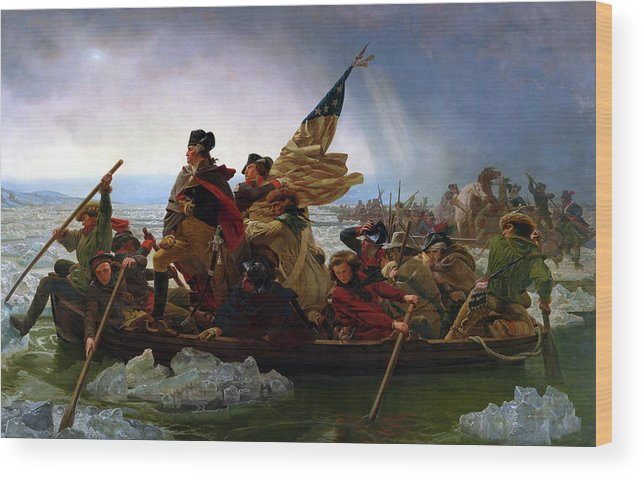 George Washington Wood Print featuring the painting Washington Crossing the Delaware by Emanuel Leutze