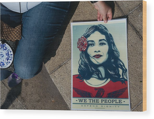 Macao Wood Print featuring the photograph Women's March Held In Macau by Anthony Kwan