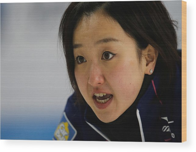 Satsuki Fujisawa Wood Print featuring the photograph World Women's Curling Championship - Day Five by Dean Mouhtaropoulos