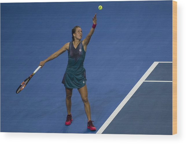 Tennis Wood Print featuring the photograph WTA Elite Trophy Zhuhai 2017 - Day 3 by Power Sport Images
