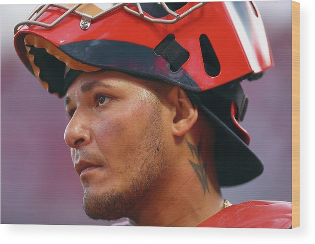 Great American Ball Park Wood Print featuring the photograph Yadier Molina by Andy Lyons