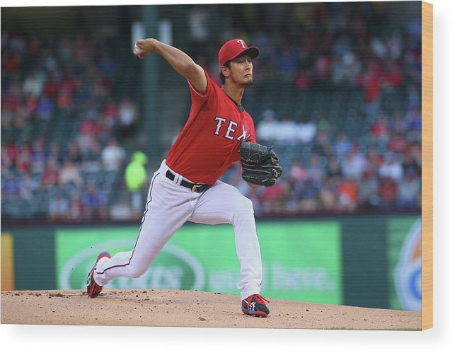 American League Baseball Wood Print featuring the photograph Yu Darvish by Ronald Martinez