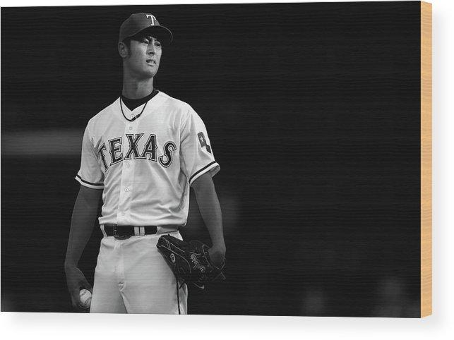 American League Baseball Wood Print featuring the photograph Yu Darvish by Tom Pennington