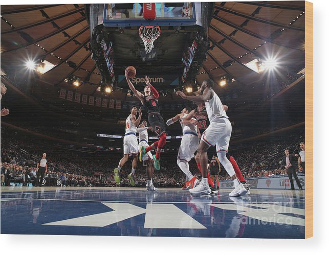 Chicago Bulls Wood Print featuring the photograph Zach Lavine by Nathaniel S. Butler