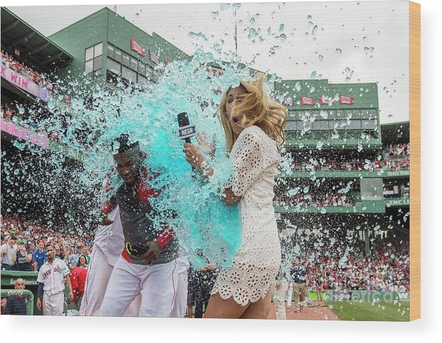 Three Quarter Length Wood Print featuring the photograph David Ortiz by Billie Weiss/boston Red Sox