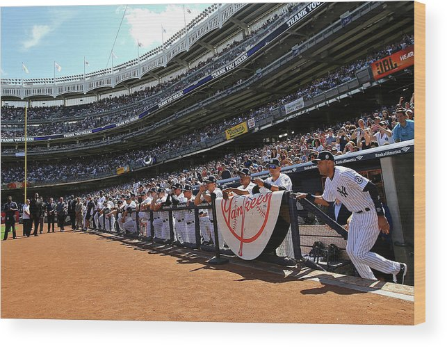 American League Baseball Wood Print featuring the photograph Derek Jeter by Al Bello