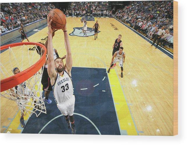 Nba Pro Basketball Wood Print featuring the photograph Marc Gasol by Joe Murphy