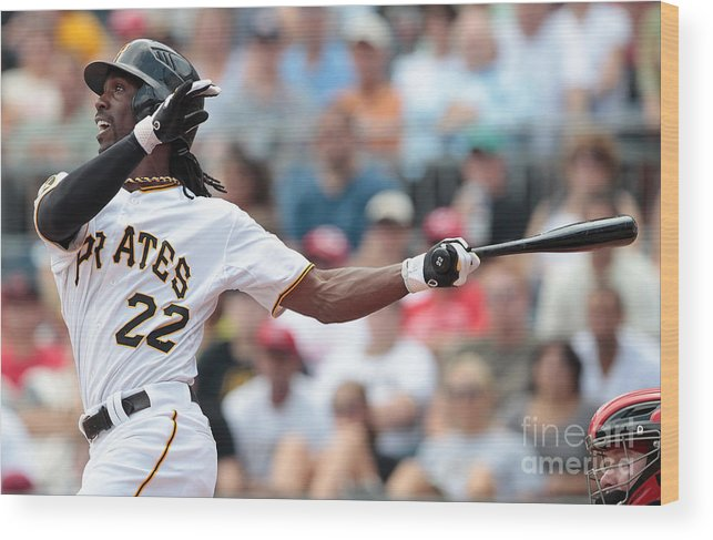 Pnc Park Wood Print featuring the photograph Andrew Mccutchen by Jared Wickerham