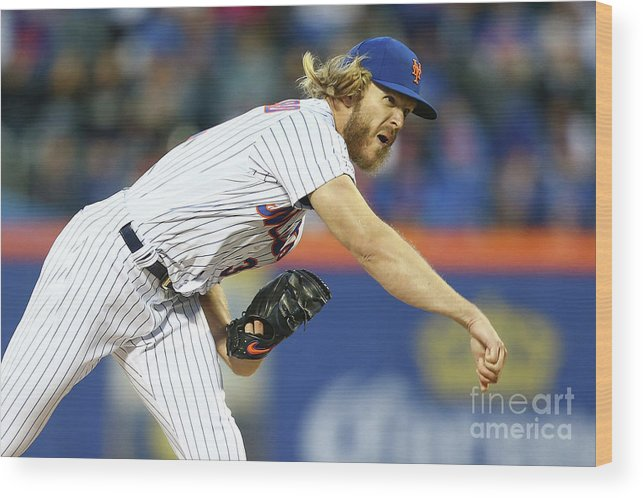 Three Quarter Length Wood Print featuring the photograph Noah Syndergaard by Mike Stobe