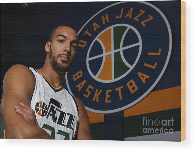 Media Day Wood Print featuring the photograph Rudy Gobert by Melissa Majchrzak