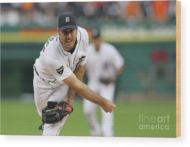 American League Baseball Wood Print featuring the photograph Justin Verlander by Leon Halip