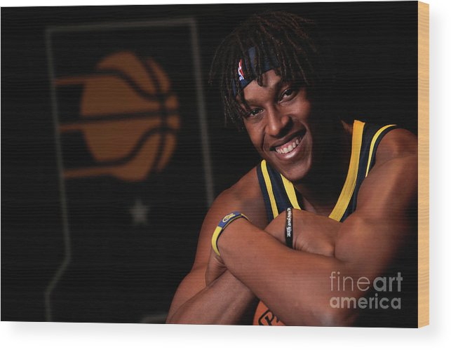 Media Day Wood Print featuring the photograph Myles Turner by Ron Hoskins