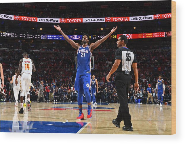 Crowd Wood Print featuring the photograph Joel Embiid by Jesse D. Garrabrant