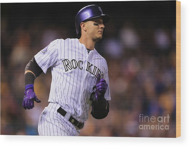 National League Baseball Wood Print featuring the photograph Troy Tulowitzki by Doug Pensinger