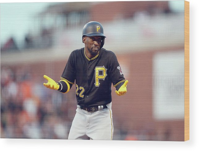 San Francisco Wood Print featuring the photograph Andrew Mccutchen by Ezra Shaw