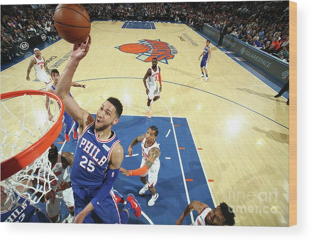 Sports Ball Wood Print featuring the photograph Ben Simmons by Nathaniel S. Butler