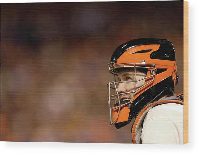 Buster Posey Wood Print featuring the photograph Buster Posey by Ezra Shaw