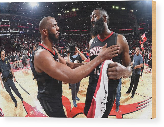 Playoffs Wood Print featuring the photograph Chris Paul and James Harden by Andrew D. Bernstein