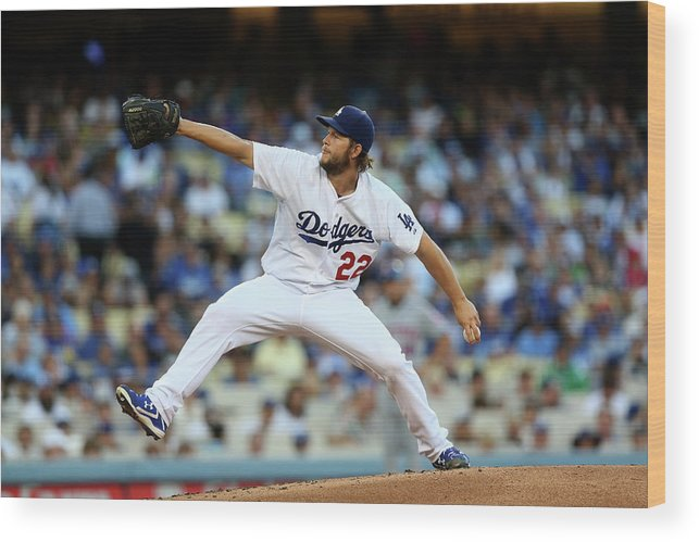People Wood Print featuring the photograph Clayton Kershaw by Stephen Dunn