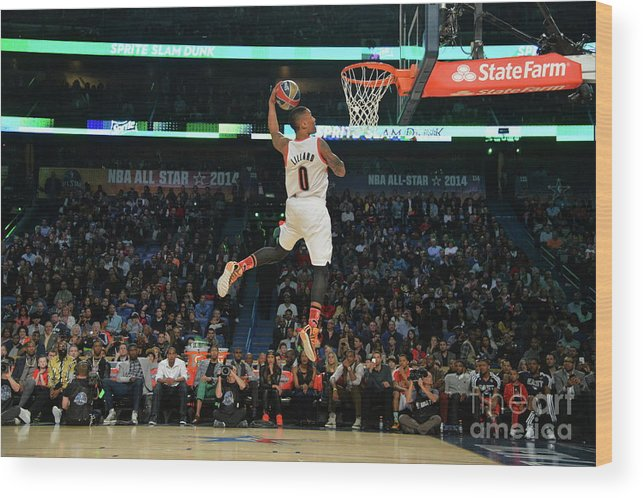 Smoothie King Center Wood Print featuring the photograph Damian Lillard by Jesse D. Garrabrant