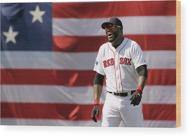 American League Baseball Wood Print featuring the photograph David Ortiz by Winslow Townson