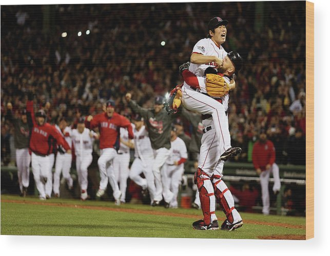 Playoffs Wood Print featuring the photograph David Ross and Koji Uehara by Rob Carr