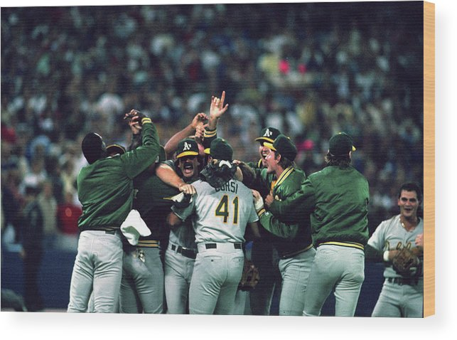 Candlestick Park Wood Print featuring the photograph Dennis Eckersley by Mlb Photos