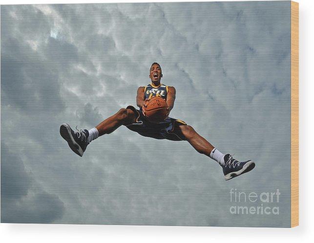 Nba Pro Basketball Wood Print featuring the photograph Donovan Mitchell by Jesse D. Garrabrant