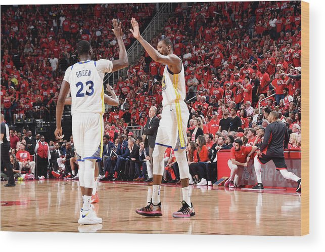 Playoffs Wood Print featuring the photograph Draymond Green and Kevin Durant by Andrew D. Bernstein