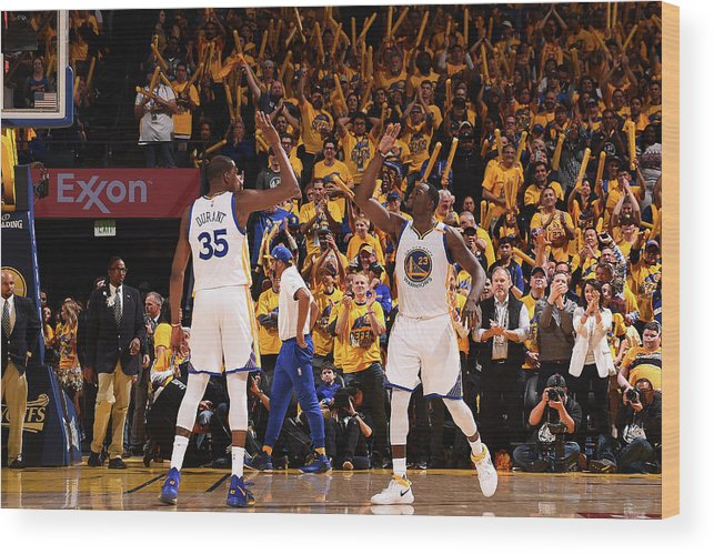Playoffs Wood Print featuring the photograph Draymond Green and Kevin Durant by Noah Graham