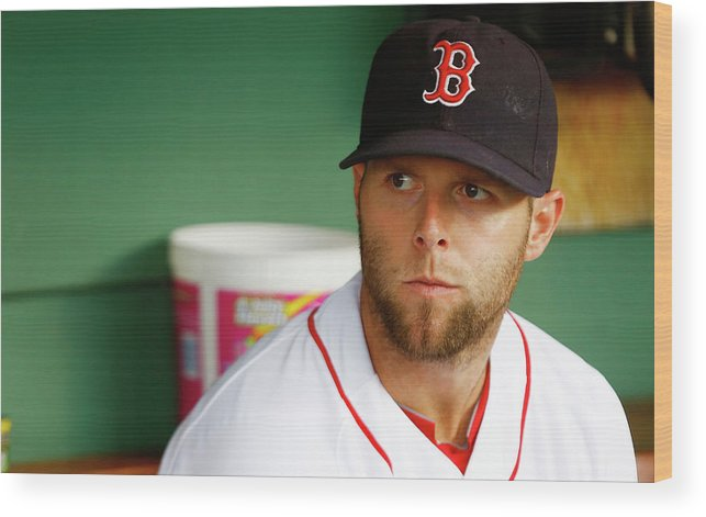 American League Baseball Wood Print featuring the photograph Dustin Pedroia by Jared Wickerham