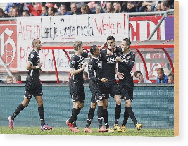 Netherlands Wood Print featuring the photograph Dutch Eredivisie - FC Twente v AZ Alkmaar by VI-Images