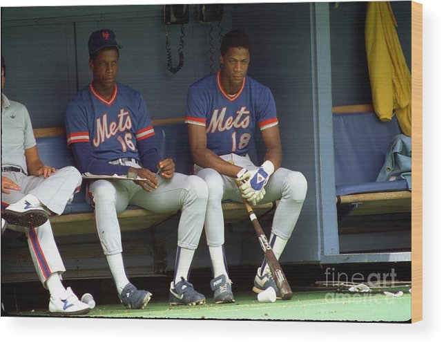 Dwight Gooden Wood Print featuring the photograph Dwight Gooden and Darryl Strawberry by George Gojkovich