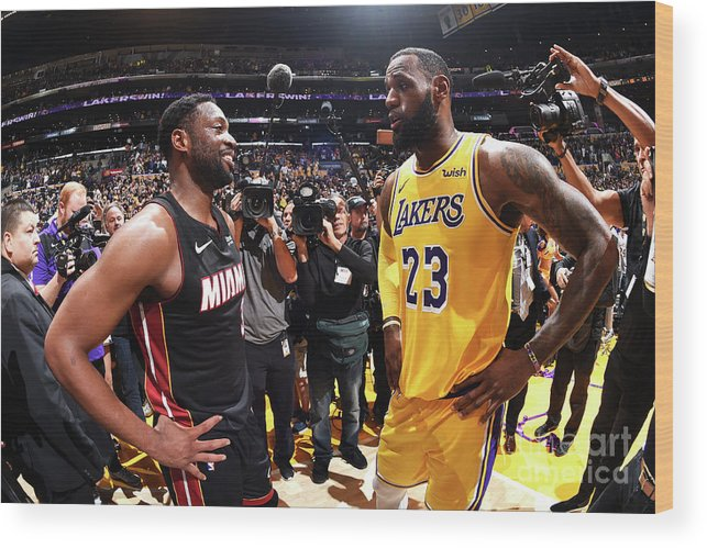 Nba Pro Basketball Wood Print featuring the photograph Dwyane Wade and Lebron James by Andrew D. Bernstein