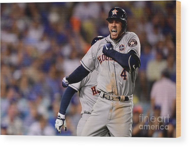 Game Two Wood Print featuring the photograph George Springer by Harry How