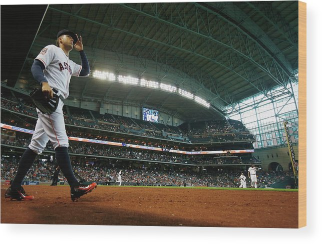 People Wood Print featuring the photograph George Springer by Scott Halleran