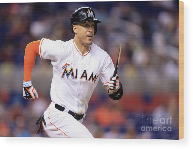 Three Quarter Length Wood Print featuring the photograph Giancarlo Stanton by Rob Foldy