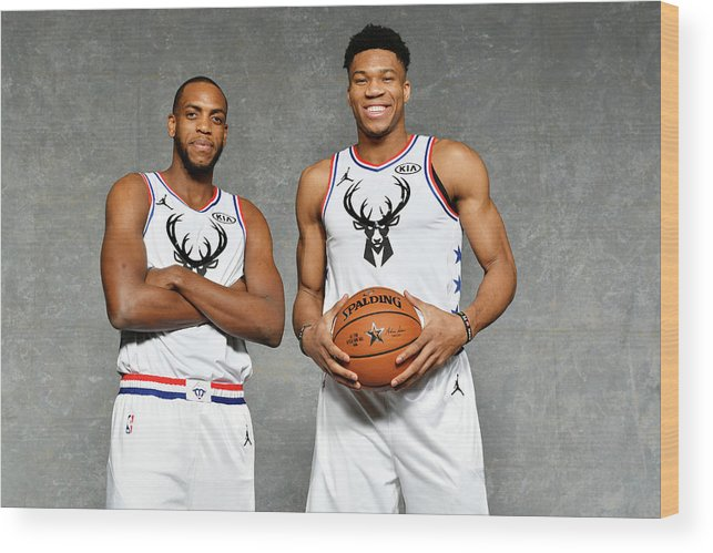 Nba Pro Basketball Wood Print featuring the photograph Giannis Antetokounmpo and Khris Middleton by Jesse D. Garrabrant