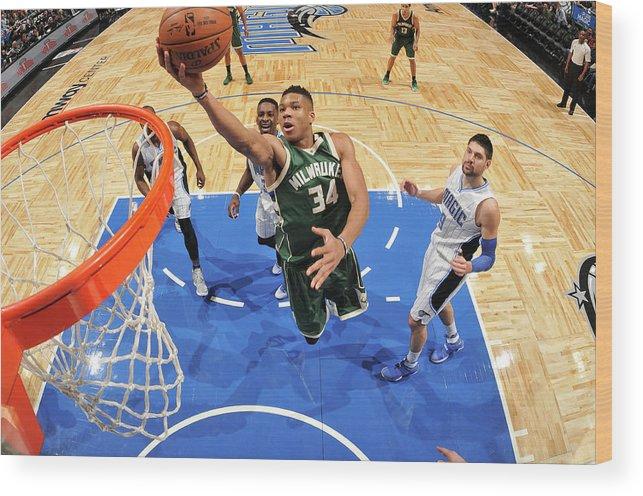 Nba Pro Basketball Wood Print featuring the photograph Giannis Antetokounmpo by Fernando Medina