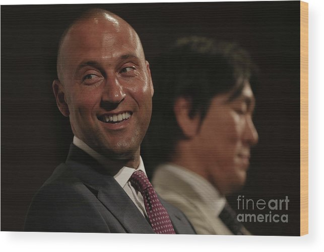 People Wood Print featuring the photograph Hideki Matsui and Derek Jeter by Chris Mcgrath