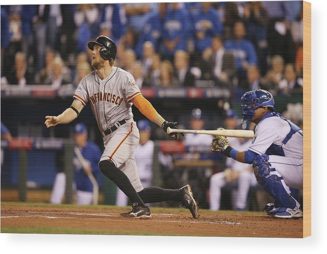 Playoffs Wood Print featuring the photograph Hunter Pence by Brad Mangin