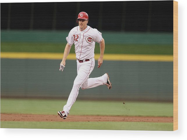 Great American Ball Park Wood Print featuring the photograph Jay Bruce by Andy Lyons