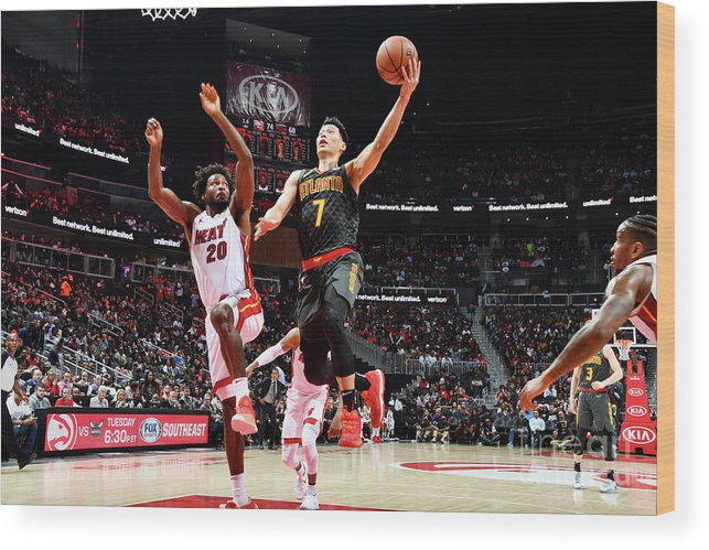 Atlanta Wood Print featuring the photograph Jeremy Lin by Scott Cunningham