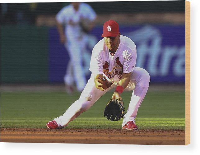 St. Louis Cardinals Wood Print featuring the photograph Jhonny Peralta by Dilip Vishwanat