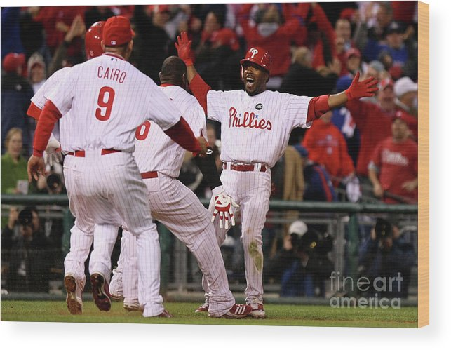 Playoffs Wood Print featuring the photograph Jimmy Rollins by Nick Laham