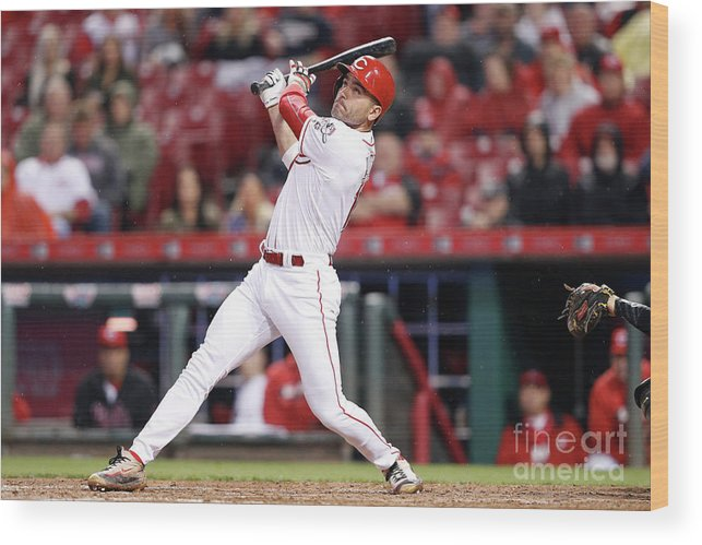 Great American Ball Park Wood Print featuring the photograph Joey Votto by Joe Robbins