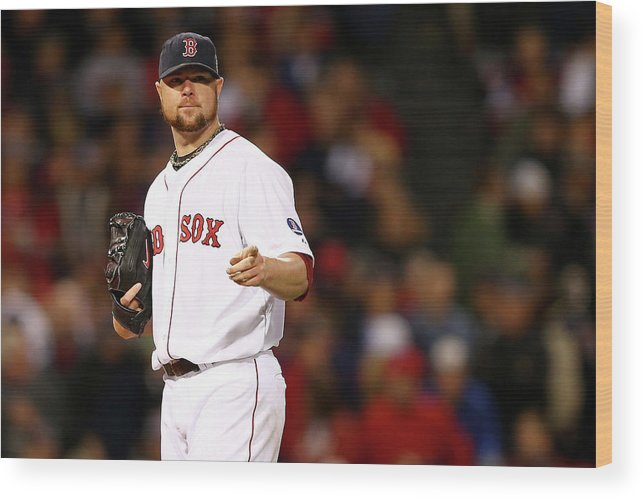 American League Baseball Wood Print featuring the photograph Jon Lester by Elsa