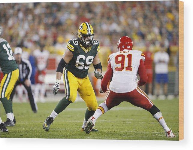 Green Bay Wood Print featuring the photograph Kansas City Chiefs v Green Bay Packers by Joe Robbins