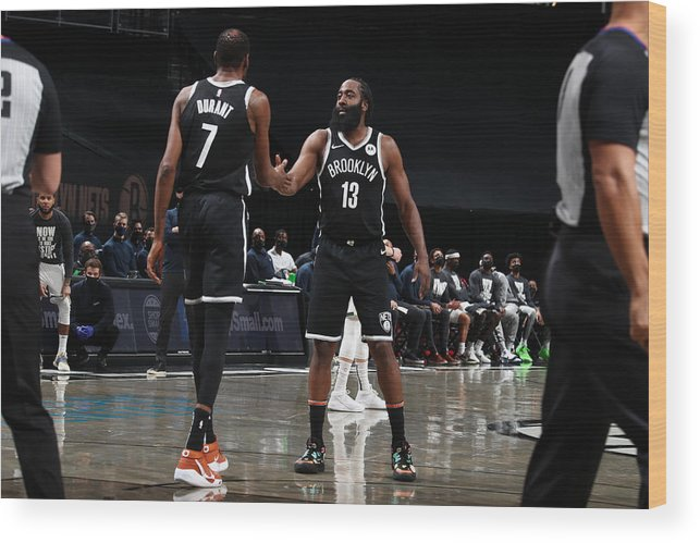 Nba Pro Basketball Wood Print featuring the photograph Kevin Durant and James Harden by Nathaniel S. Butler